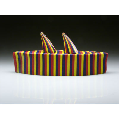Red Yellow and Blue Boat with Two Horns