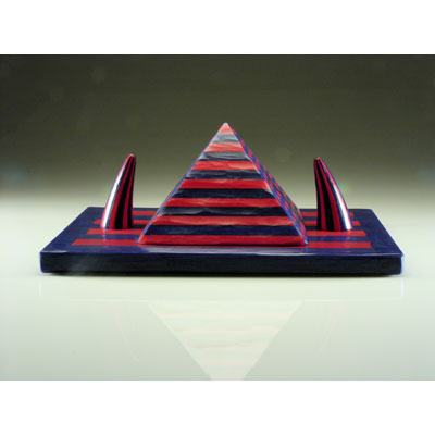 Blue and Red Pyramid with Two Horns