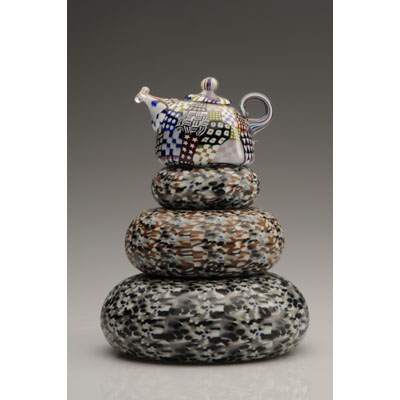 Crazy Quilt Teapot on Donuts